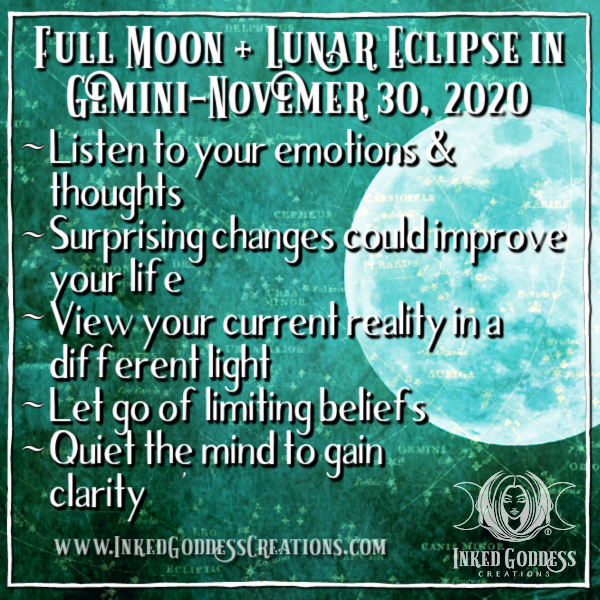 Full Moon + Lunar Eclipse in Gemini- November 30, 2020
