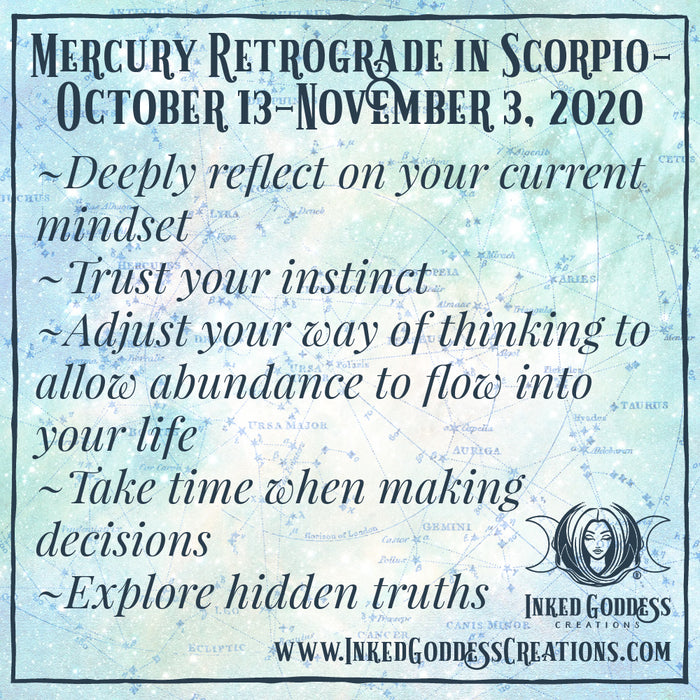 Mercury Retrograde in Scorpio- October 13- November 3, 2020