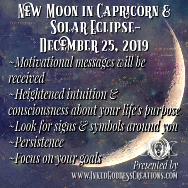New Moon in Capricorn & Solar Eclipse- December 25, 2019