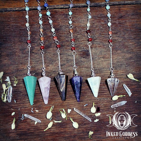 Gemstone Chakra Pendulum from Inked Goddess Creations