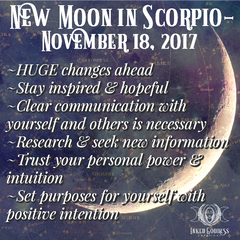 New Moon in Scorpio- November 18, 2017