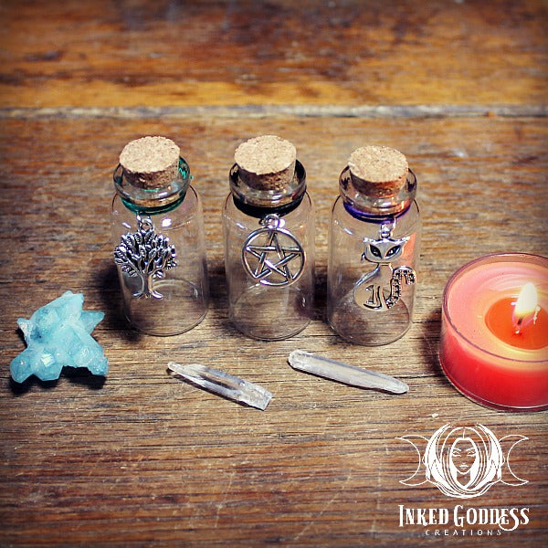 10 ml Cork Potion Bottles with Charms Set of 6