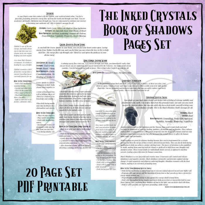 Inked Crystals Book of Shadows Pages Set- PDF Printables
