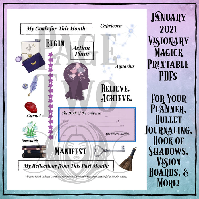 January 2021 Visionary Magick PDF Printable for Bullet Journaling, Vision Boards, Book of Shadows & More!