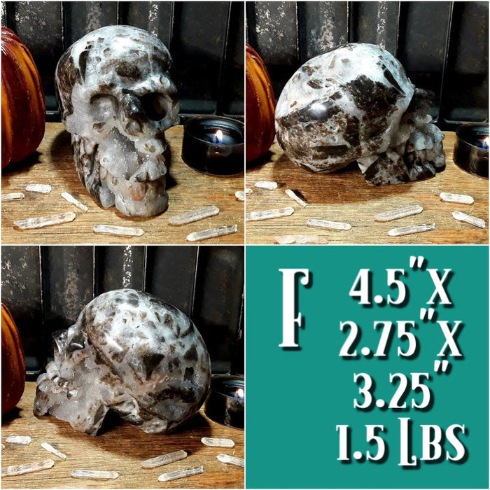 Lava Quartz Druzy Gemstone Carved Skulls for Ultimate Balance