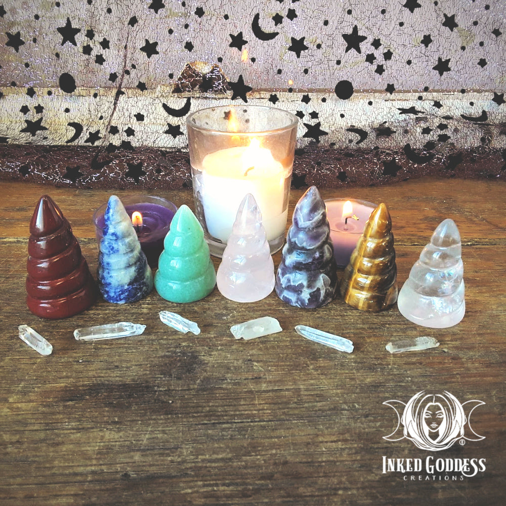 Unicorn Horn Carved Gemstone- Inked Goddess Creations Exclusive!
