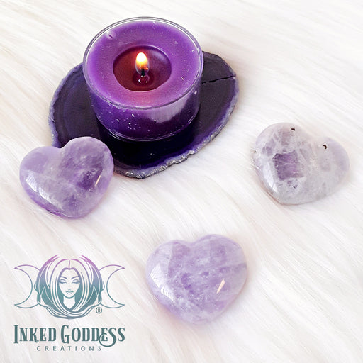 Amethyst Gemstone Heart for Balance, Intuition and Stress Relief