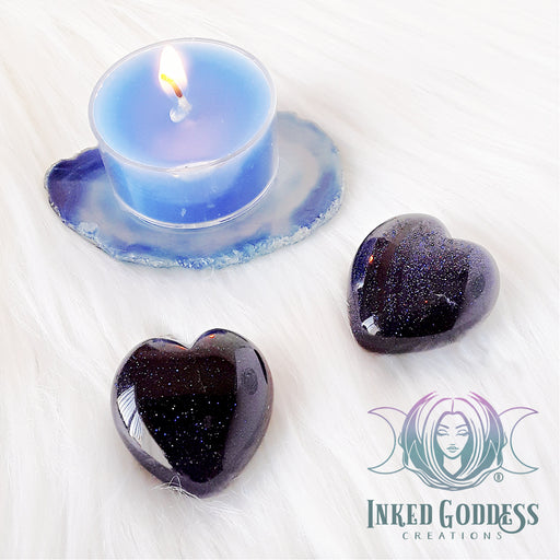 Blue Goldstone Gemstone Heart for Protection