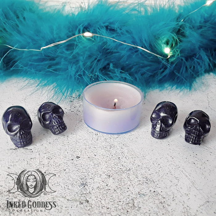 Blue Goldstone Gemstone Skulls