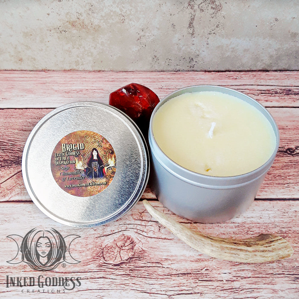 Brigid Goddess Tin Candle from Inked Goddess Creations