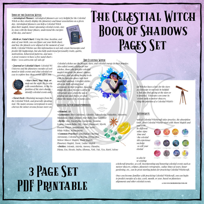 Celestial Witch Book of Shadows Pages Set- PDF Printables