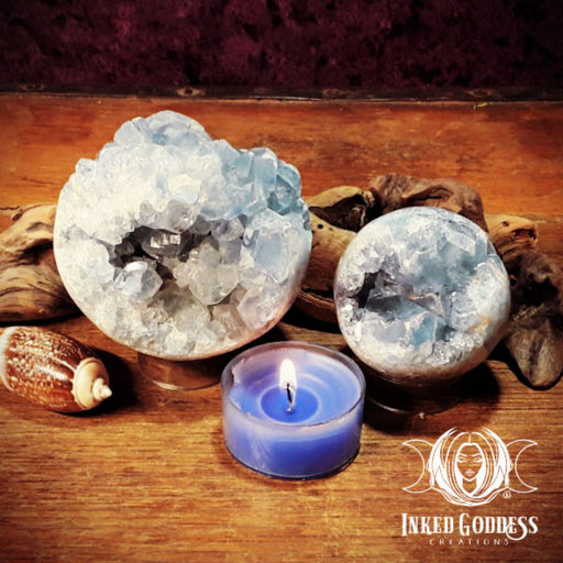 Celestite Geode Gemstone Spheres for Divine Communication