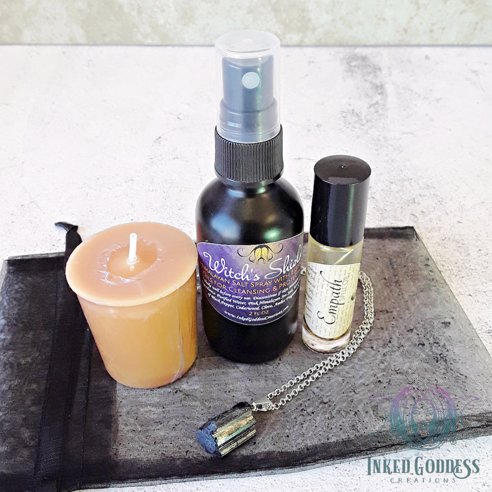 Empath Kit- Candle, Spray, Oil and Necklace for Protection