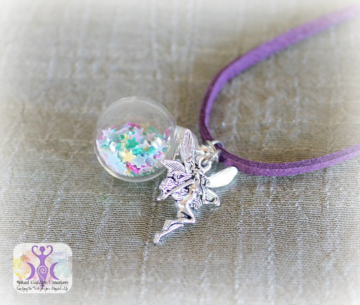 Fairy Magick Necklace with Purple Velvet Chain