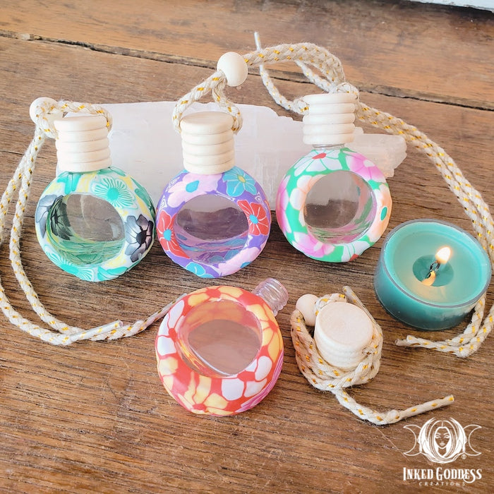 Glass and Fimo Clay Aromatherapy Potion Bottles