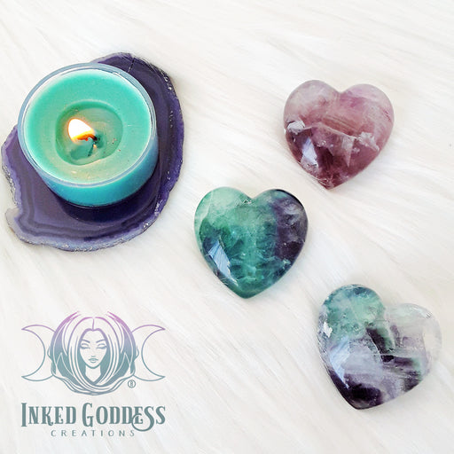 Fluorite Gemstone Heart for Aura Cleansing and Self Confidence