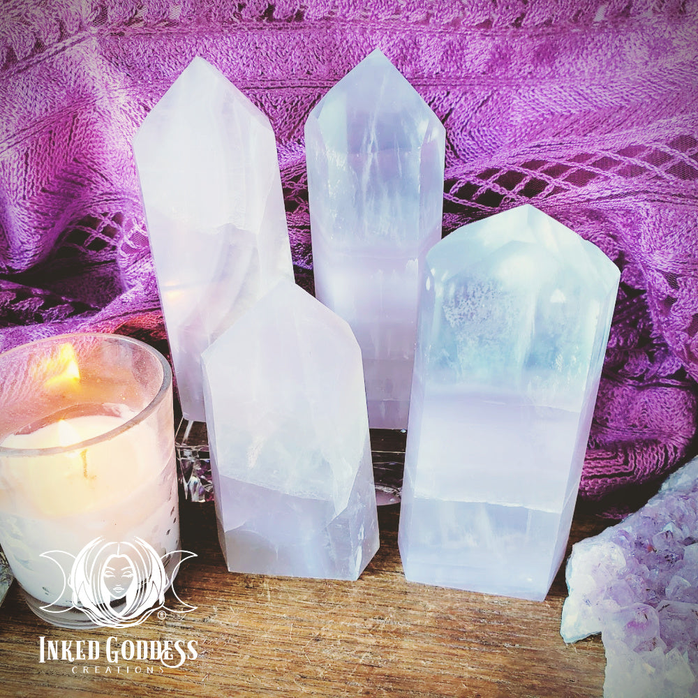 Pastel Fluorite Gemstone Tower for Spiritual Balance