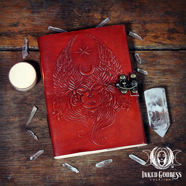Winged Goddess Leather Book of Shadows