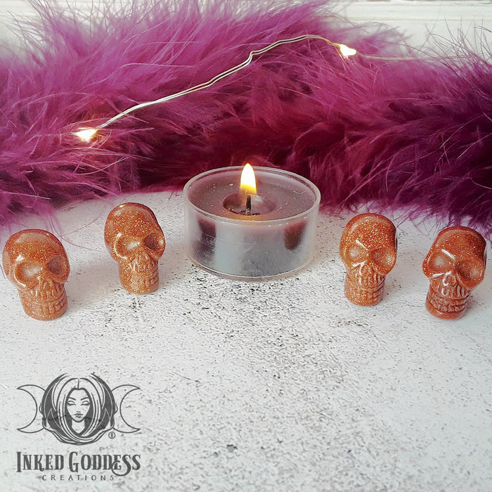 Goldstone Gemstone Skulls