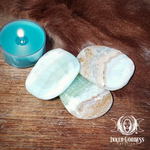 Green Calcite with Matrix Palm Stone