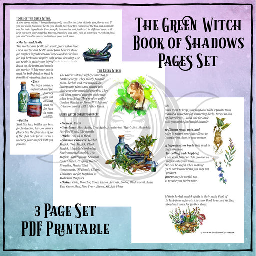 Green Witch Book of Shadows Pages PDF Printables