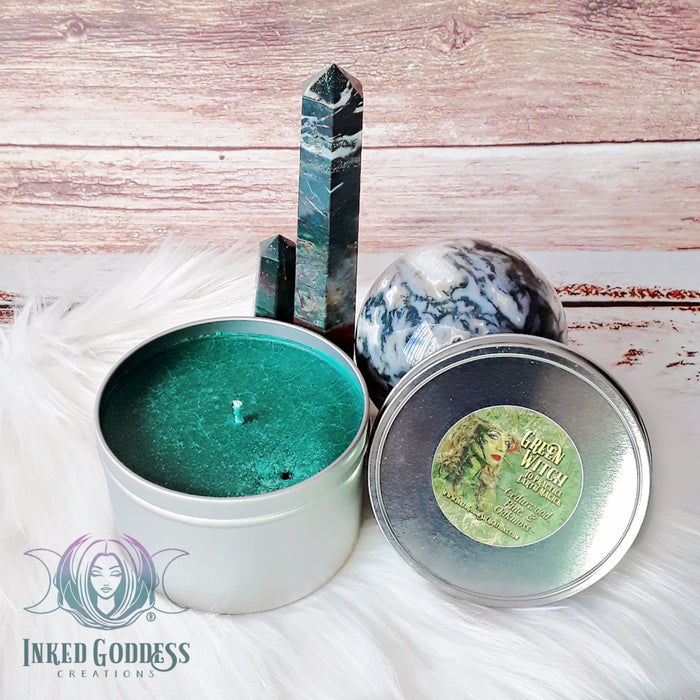 Green Witch Tin Candle from Inked Goddess Creations