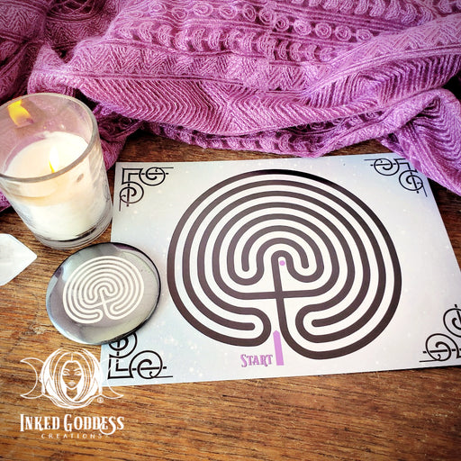 Hematite Labyrinth Palm Stone & Altar Card Set- Inked Goddess Creations Exclusive!