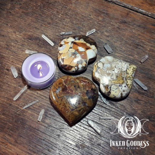 King Cobra Jasper Large Gemstone Heart for Nurturing Energy