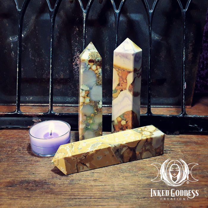 King Cobra Jasper Gemstone Obelisk Tower