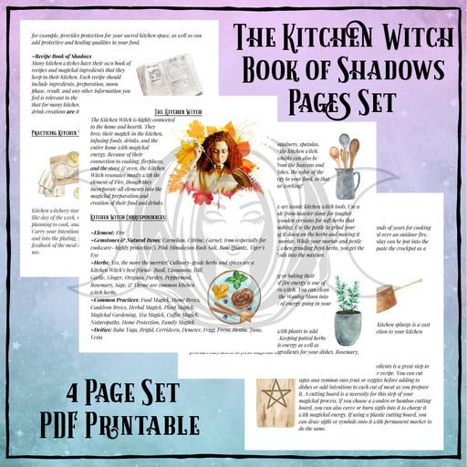 Kitchen Witch Book of Shadows Pages Set- PDF Printables