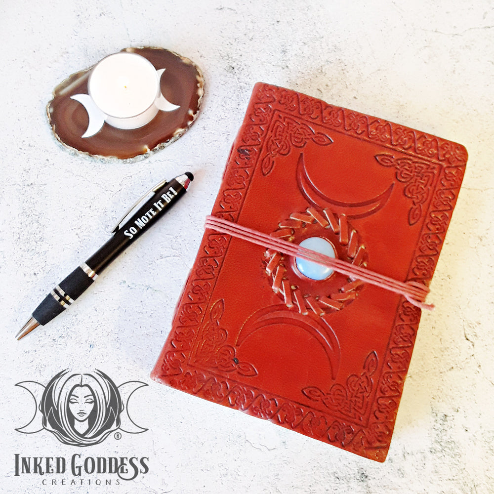 Triple Moon Leather Book of Shadows
