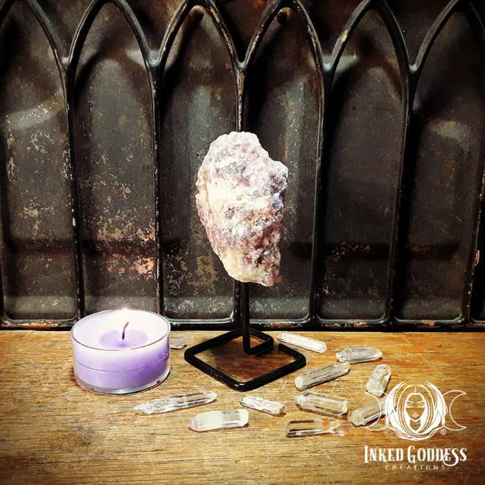 Lepidolite Gemstone Specimen on Metal Stand for Transition Energy