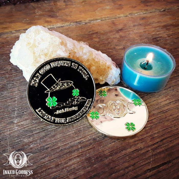 Leprechaun Good Luck Gold Coin Talisman- Inked Goddess Creations Exclusive