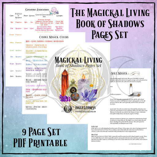 Magickal Living Book of Shadows Pages Set- PDF Printables