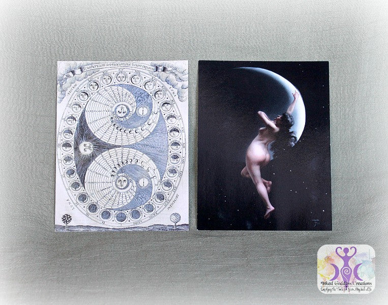 New Moon and Full Moon Art Cards