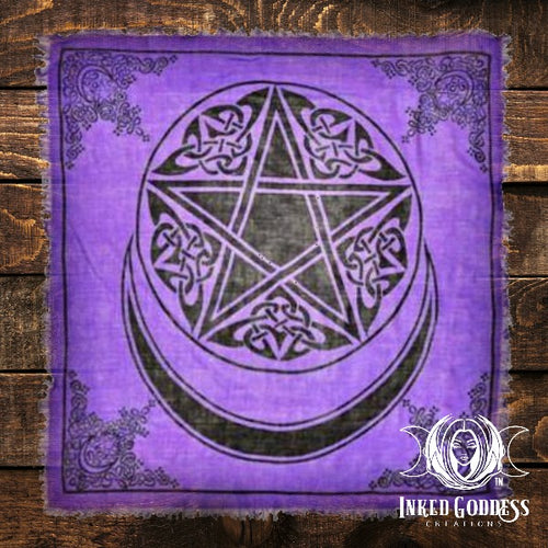Pentacle Moon Purple Altar Cloth