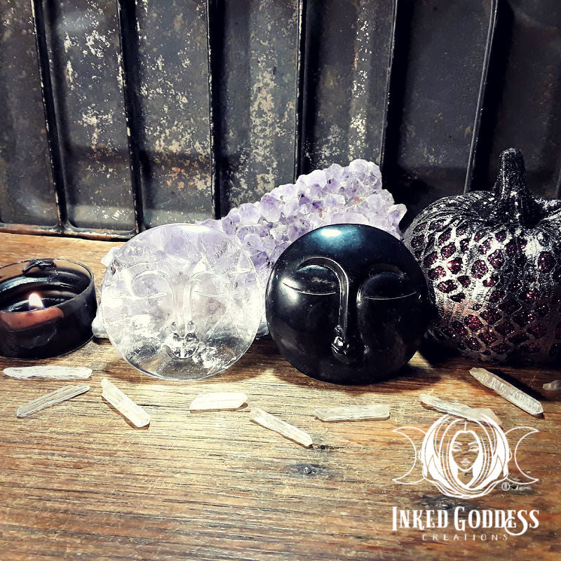 Full Moon and Dark Moon Gemstone Face Carving Set- Quartz and Obsidian