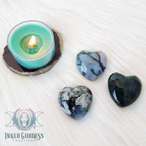 Moss Agate Gemstone Heart for New Beginnings