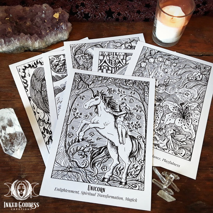 Mythical Creatures Altar Coloring Cards Set of 6