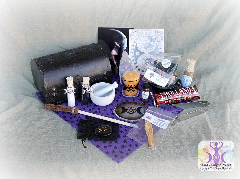 Large Altar Set in Pentacle Box- Cauldron, Mortar & Pestle, Altar Cloth & More!