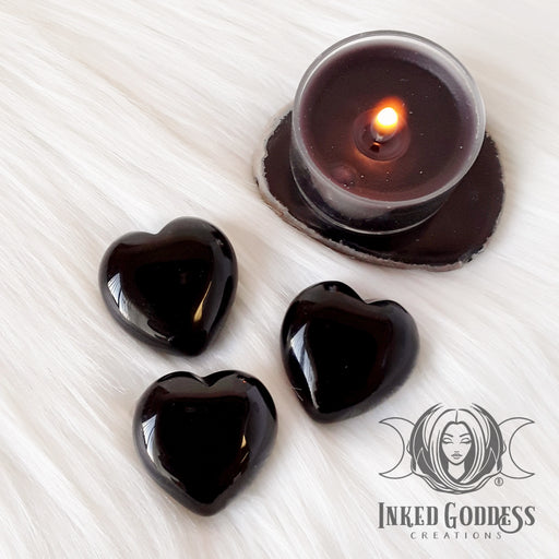 Obsidian Gemstone Heart for Creativity, Protection and Grounding