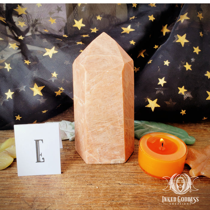 Peach Moonstone Towers for Loving Energy