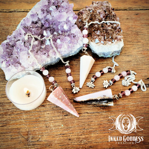 Pink Opal Lotus Pendulum for Matters of the Heart