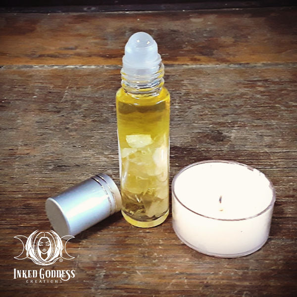 Clear Quartz Gemstone Infused Perfume Oil