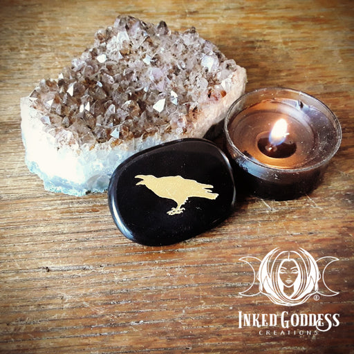 Raven Obsidian Palm Stone- Inked Goddess Creations Exclusive!