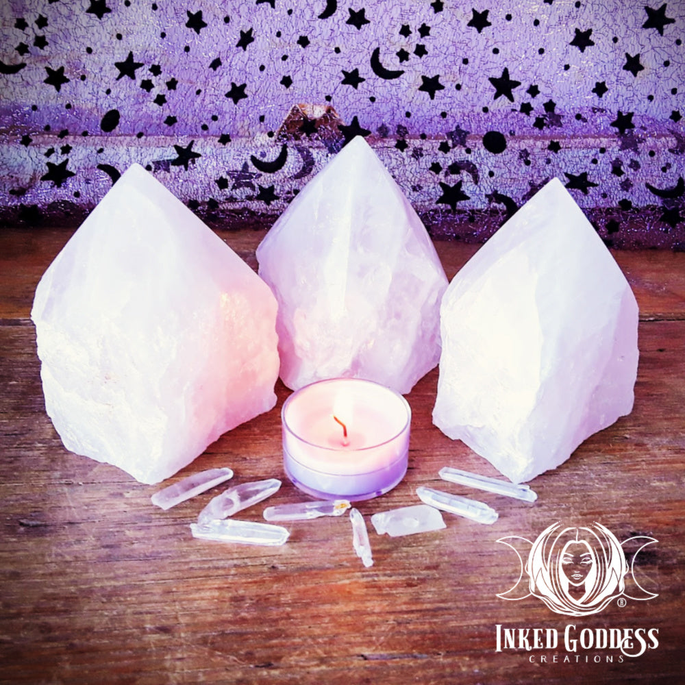 Large Rose Quartz Point Towers for Universal Love