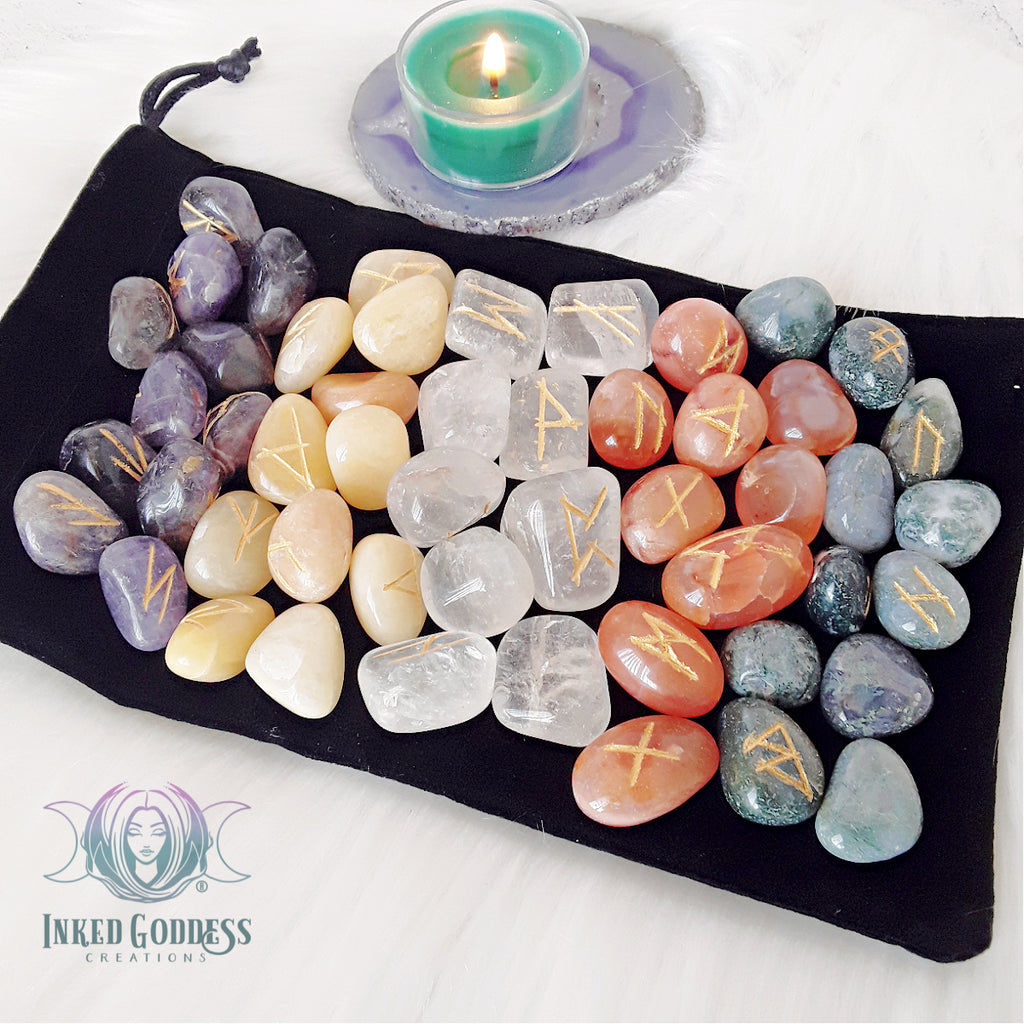 Gemstone Rune Set with Velvet Goddess Bag