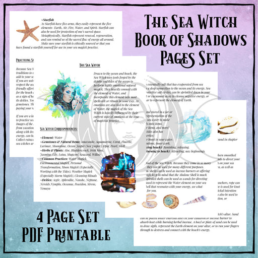 Sea Witch Book of Shadows Pages Set- PDF Printables