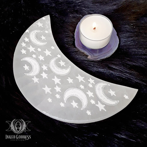 Moon Shaped Selenite Charging Plate
