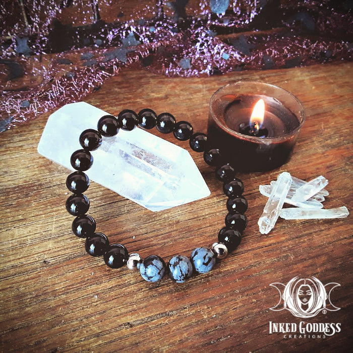 Snowflake Obsidian and Onyx Bracelet for Balance & Shadow Working